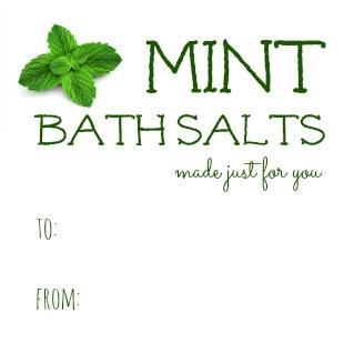 Mint Bath Salts Gift Tag