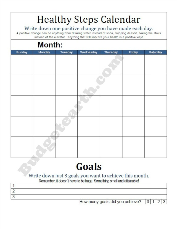 Healthy Step Calendar