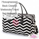 Monogrammed Black Chevron Weekender Travel Bag