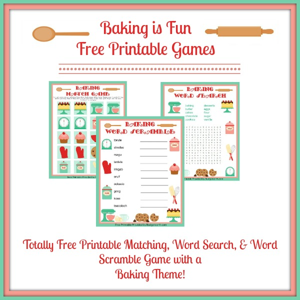 Baking Is Fun Free Printable Games