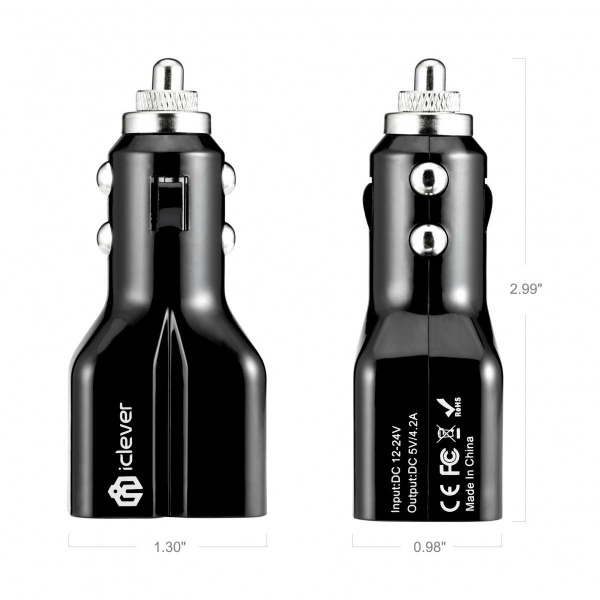 iClever 2 Port USB Car Charger 3
