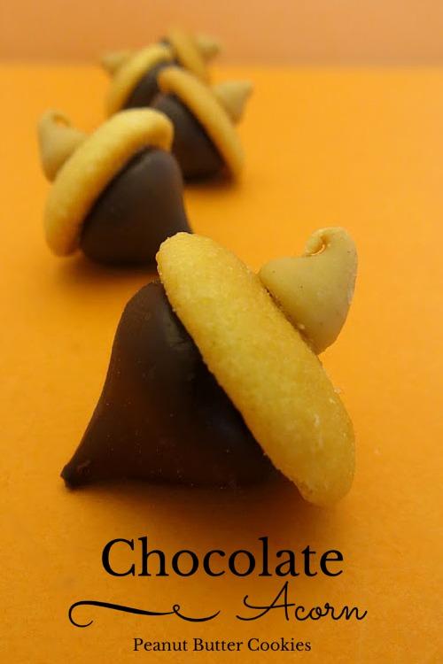 Chocolate Acorn Peanut Butter Cookies