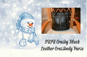 SUSU Crosby Black Leather Crossbody Purse