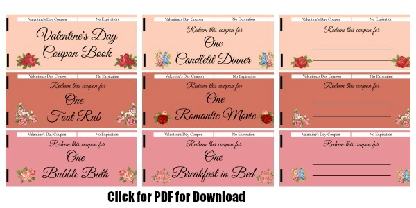 flower valentines day coupon book - Valentines Day Coupon Book
