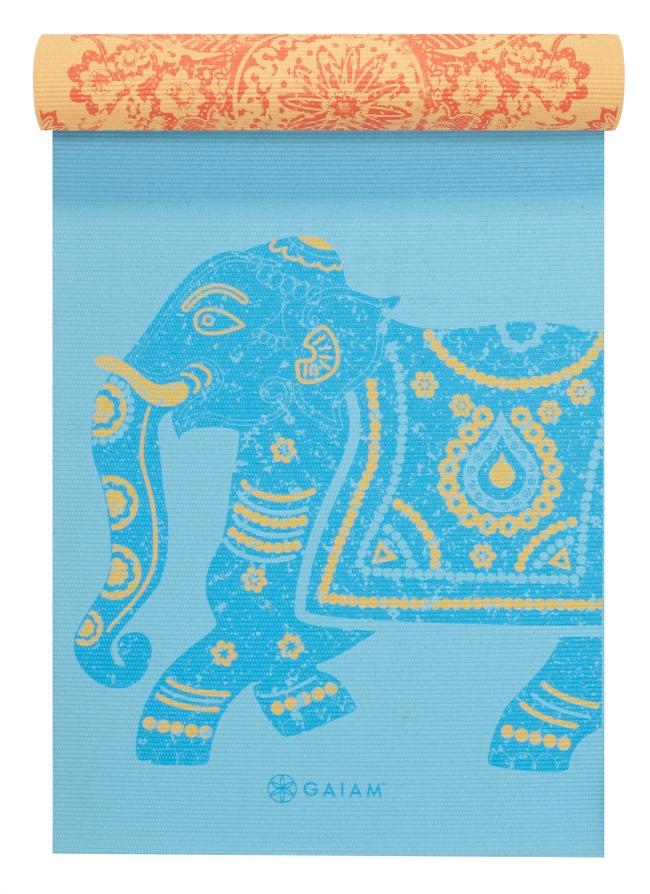 Elephant Reverse Yoga Mat Half Rolled - Blue