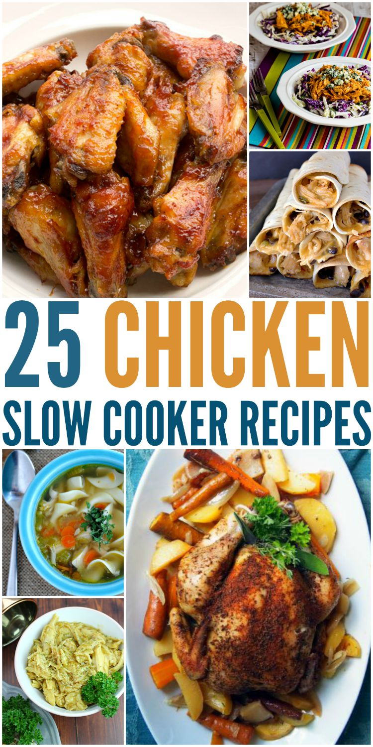 Looking for some delicious dinner ideas for your slow cooker? Check out this yummy list of 25 Chicken Slow Cooker Recipes here! a