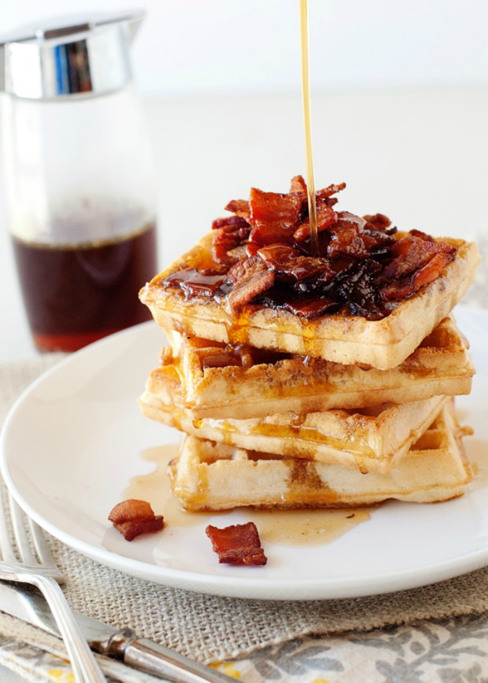 Belgian Waffles with Bacon Maple Syrup