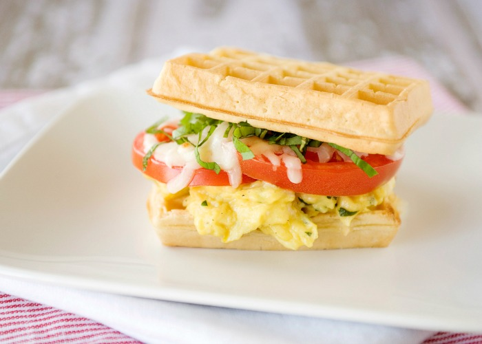 Caprese Egg and Waffle Sandwiches