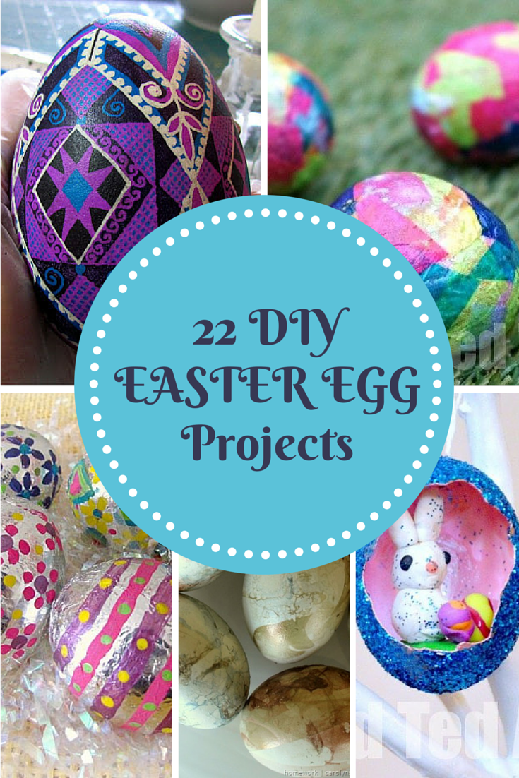 purple dyed egg, egg with bunny inside, various DIY dyed easter egg projects