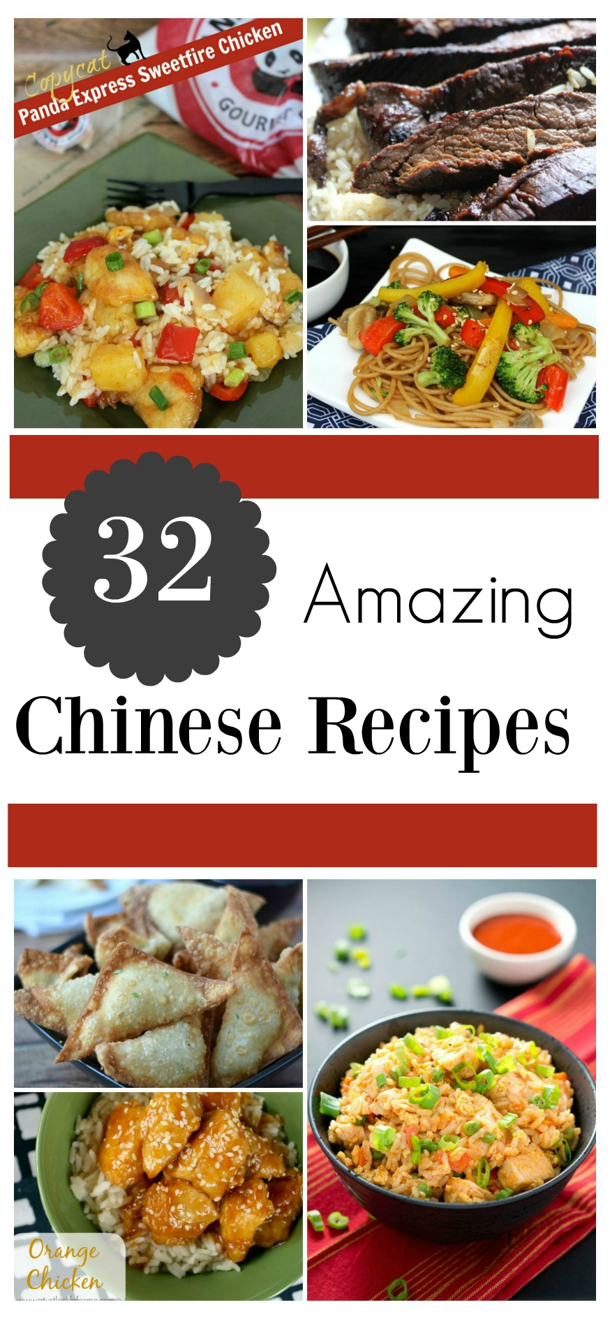 Does your family love Chinese take out? Check out these 32 Amazing Chinese Recipes, including copycat recipes & healthy version of your favorite dishes here!