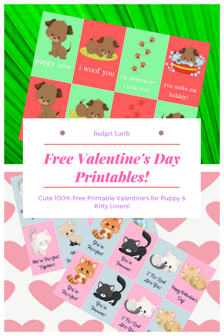 free printable valentine cards featuring cartoon style cats and dogs