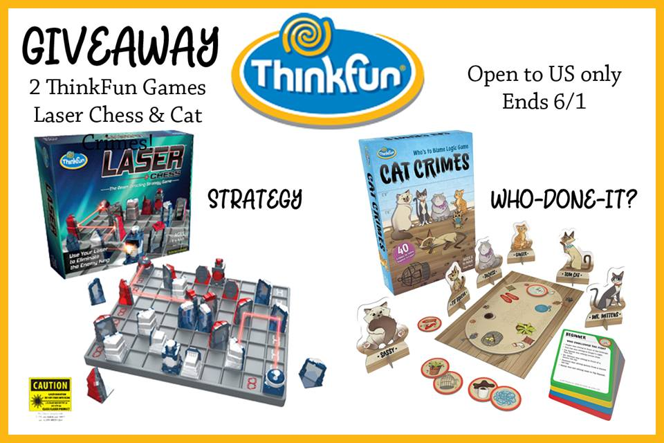 Do you want your kids to have fun while learning? Enter to win the Laser Chess and Cat Crimes ThinkFun games here!