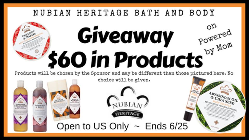 Do you love feeling pampered? Steep your body in pure luxury and enter to win $60 worth of Nubian Heritage Products here!