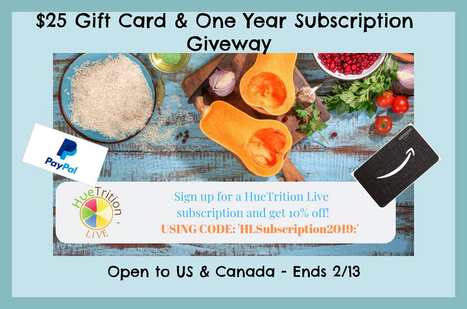 Looking for some assistance on your road to a healthier you? Enter to win $25 Paypal Cash or a 1-year HueTrition subscription here!
