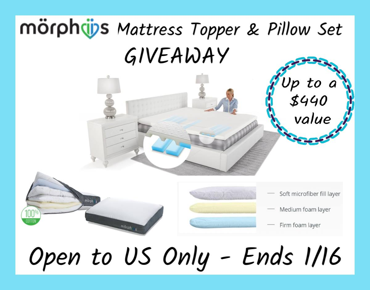 Do you enjoy personalizing the firmness and support you receive from your bed? Enter to win a Morphiis mattress topper and 2 pillows here!