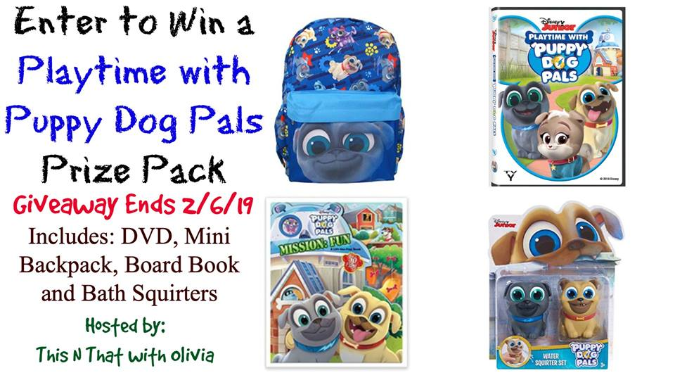 Do you and your child love Disney Junior shows? Enter to win a Playtime with Puppy Dog Pals Prize Pack here!