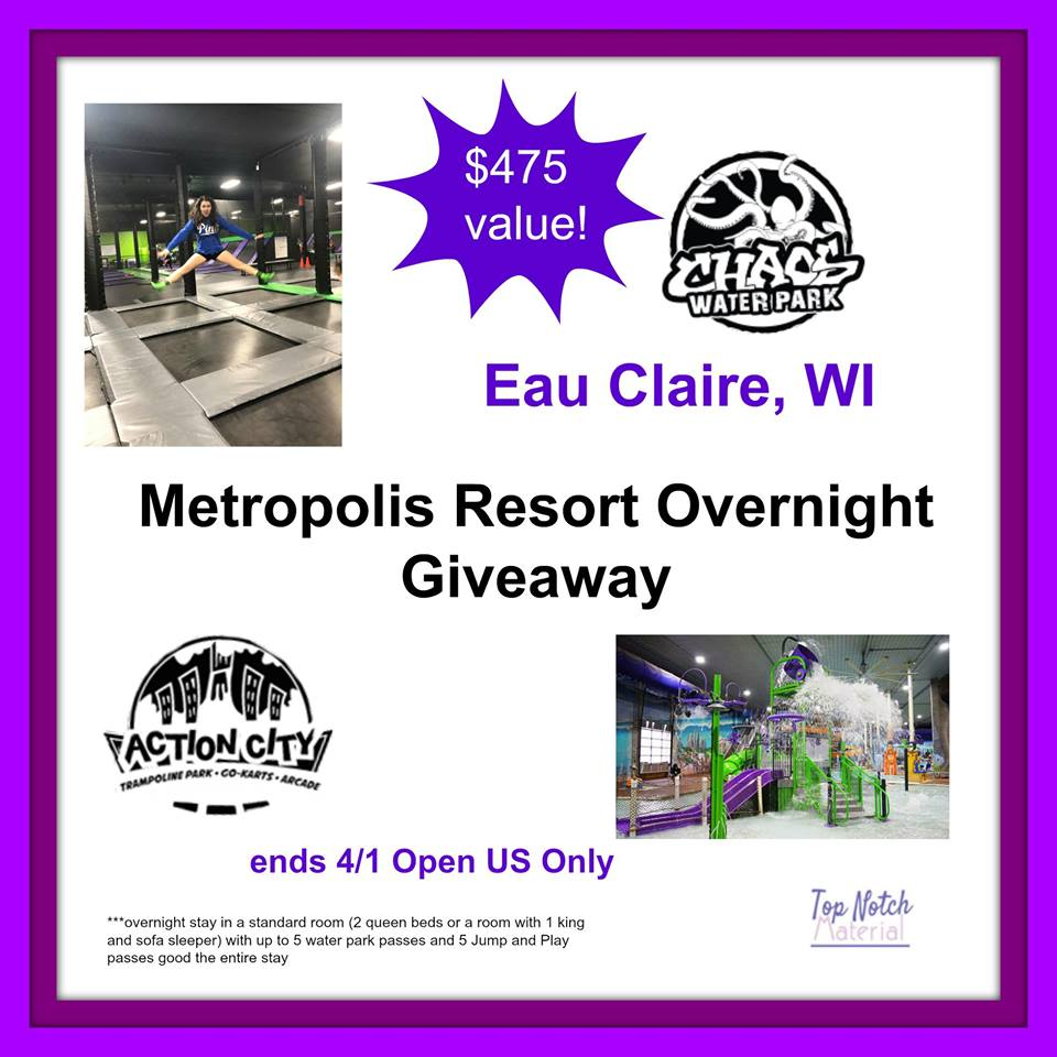 Need a little getaway or know someone that does? Enter to win an overnight Metropolis Resort stay in Eau Claire, WI here!
