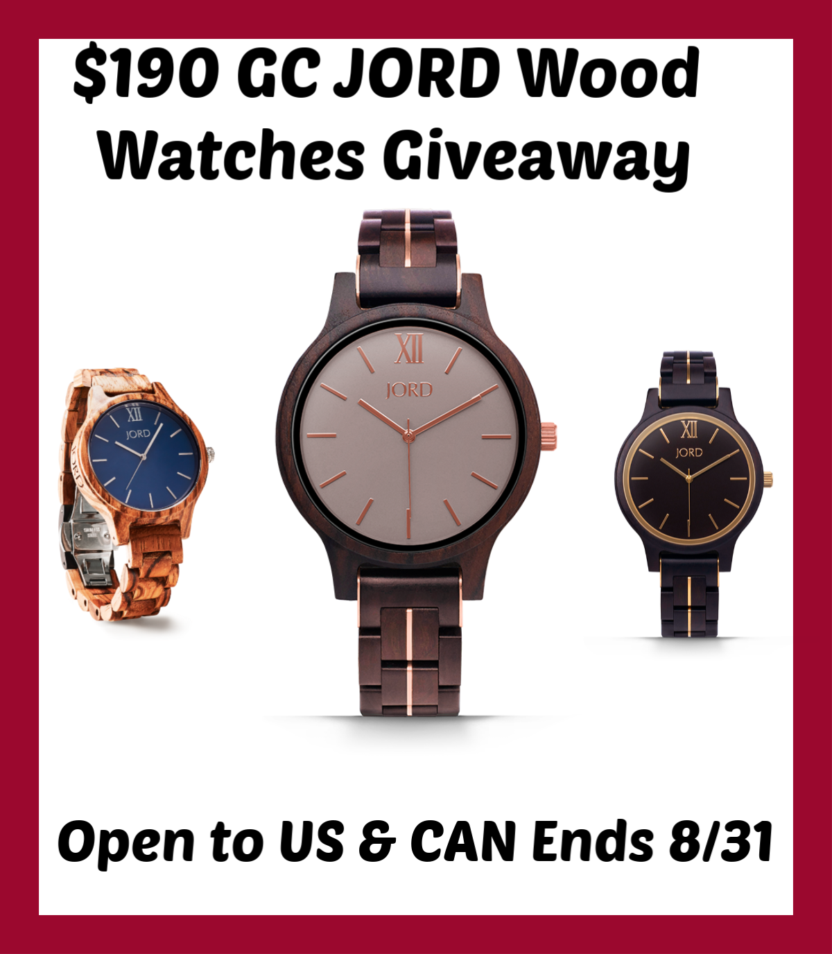 Have you checked your watch recently? It's time to enter to win a $190 JORD Wood Watches gift code here!