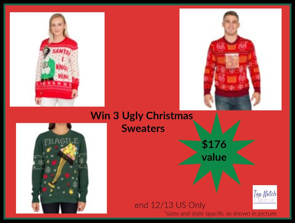 Looking to start a fun new holiday family tradition? Enter to win an assortment of Ugly Christmas Sweaters here!