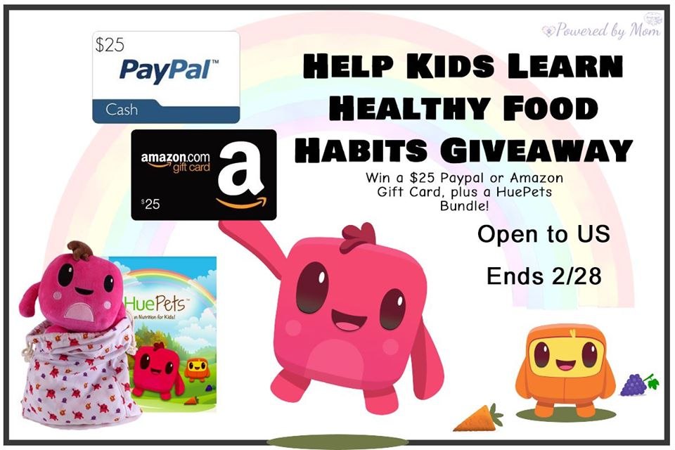 Interested in finding a new way to encourage your kids to eat healthy and try new foods? Enter to win $25 Amazon or Paypal cash and a Huepets plushie bundle here!