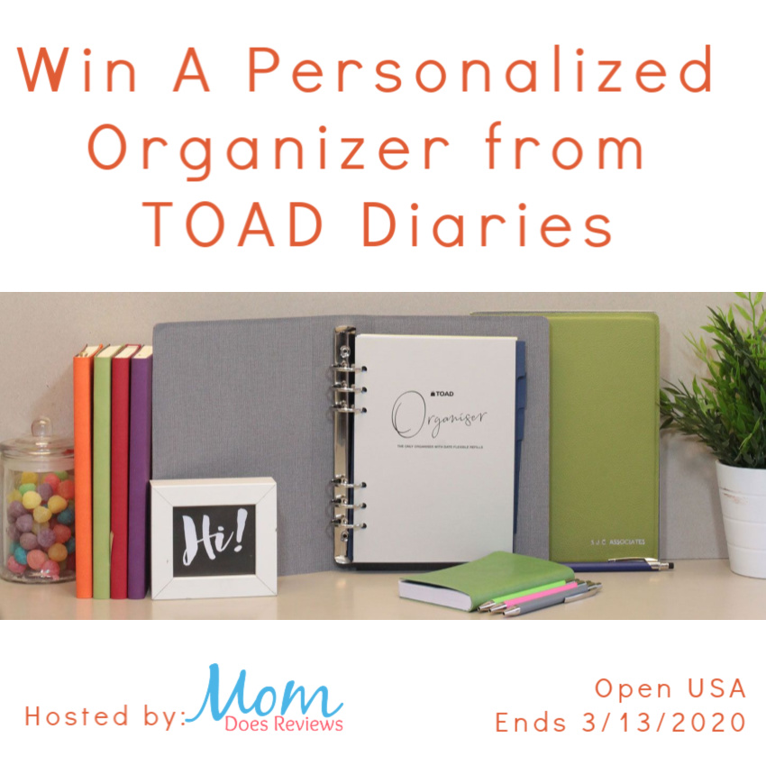Do you need a little extra help to stay organized? Enter to win a personalized organizer from TOAD Diaries here!