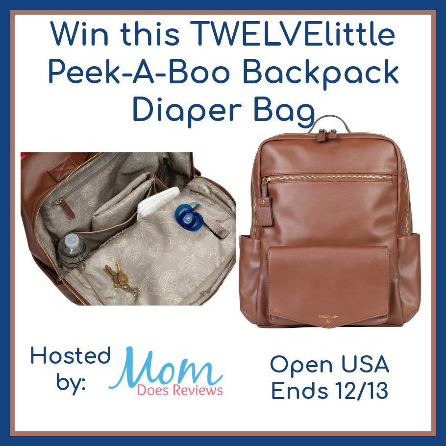 Wish your diaper bag was both spacious AND stylish? Enter to win a TWELVElittle Peek-A-Boo Backpack Diaper Bag here!