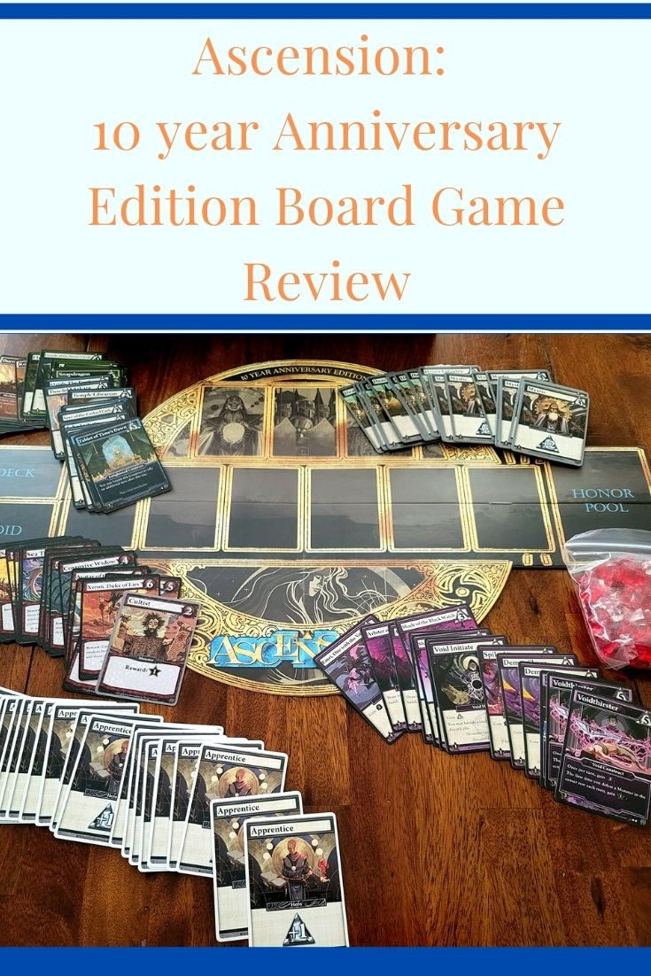 Spread of all the cards and board for Ascension Board Game