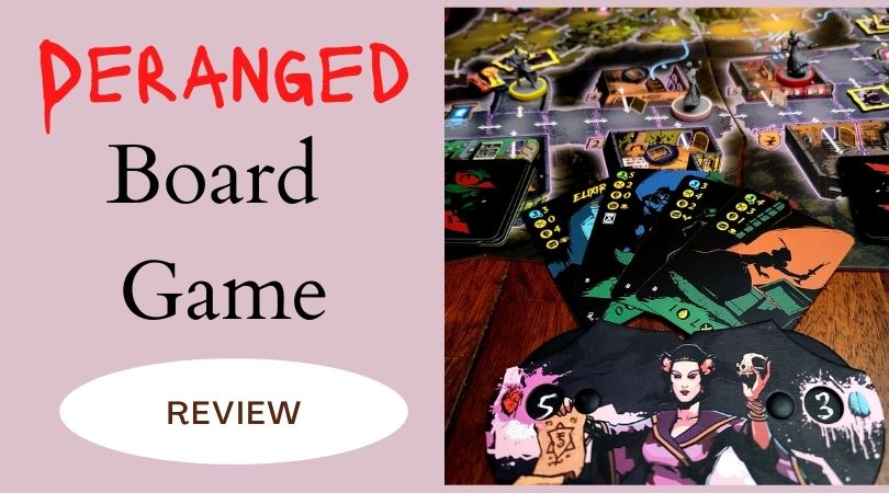 Board Game Deranged being played, including cards and board