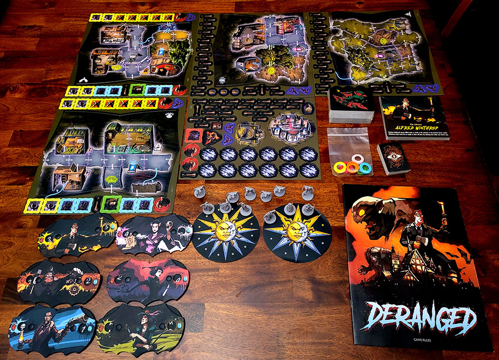 picture of everything included in board game Deranged